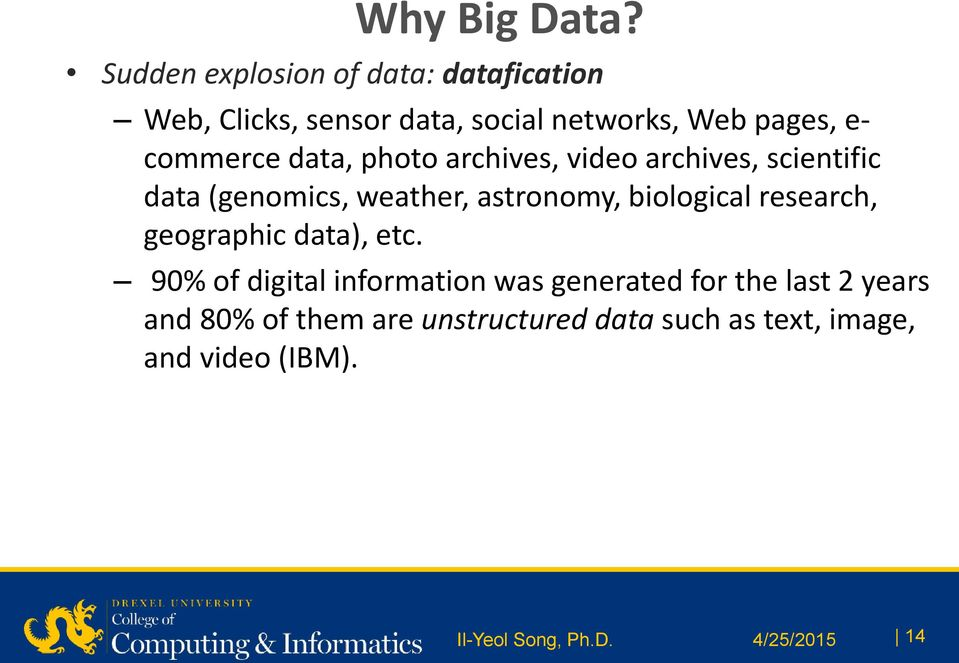data, photo archives, video archives, scientific data (genomics, weather, astronomy, biological
