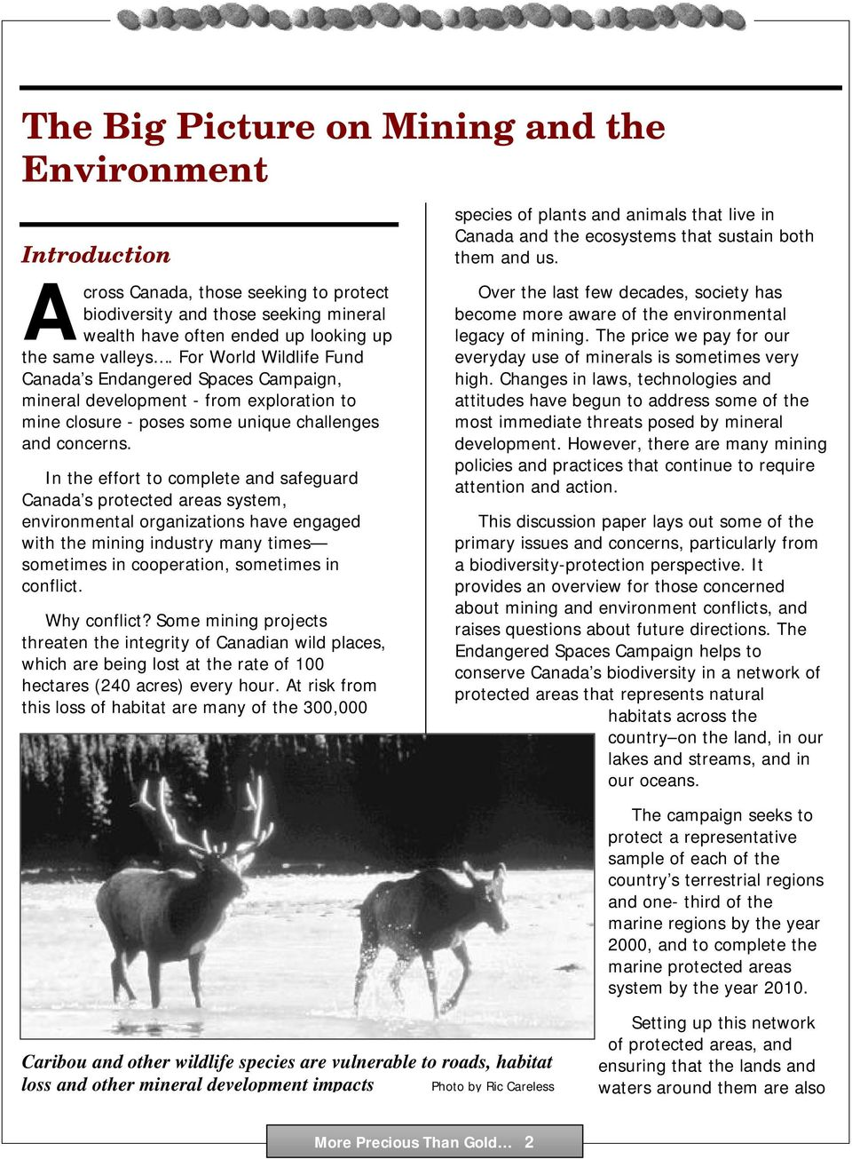 In the effort to complete and safeguard Canada s protected areas system, environmental organizations have engaged with the mining industry many times sometimes in cooperation, sometimes in conflict.