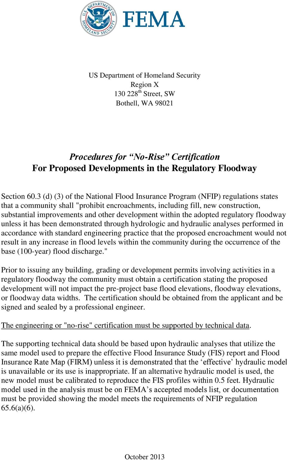 Procedures For No Rise Certification For Proposed Developments In