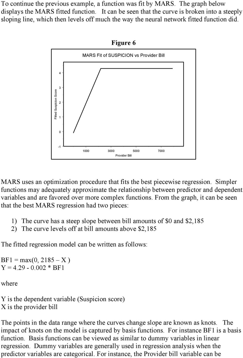 Figure 6 MARS Fit of SUSPICION vs Provider Bill 4 Fitted Suspicion Score 3 2 1 0-1 1000 3000 5000 7000 Provider Bill MARS uses an optimization procedure that fits the best piecewise regression.