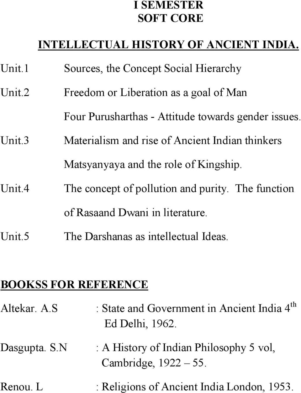 3 Materialism and rise of Ancient Indian thinkers Matsyanyaya and the role of Kingship. Unit.4 The concept of pollution and purity.