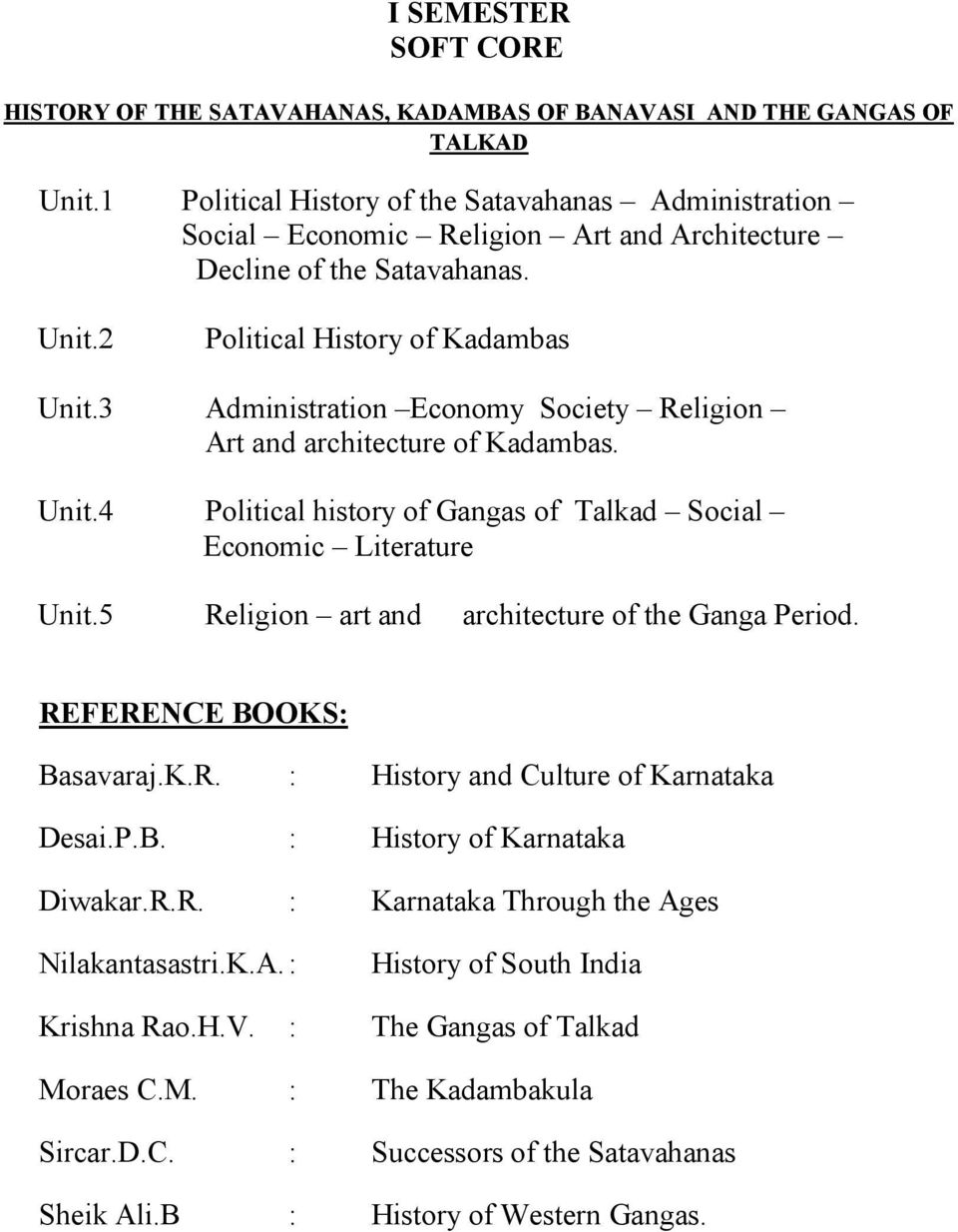 3 Administration Economy Society Religion Art and architecture of Kadambas. Unit.4 Political history of Gangas of Talkad Social Economic Literature Unit.