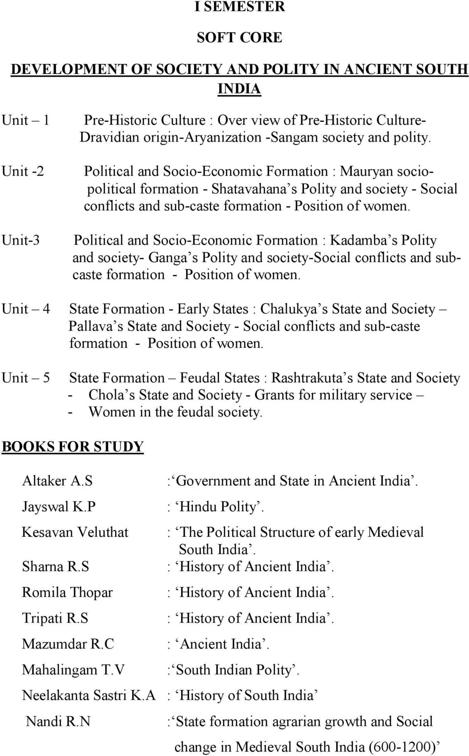 Political and Socio-Economic Formation : Kadamba s Polity and society- Ganga s Polity and society-social conflicts and subcaste formation - Position of women.