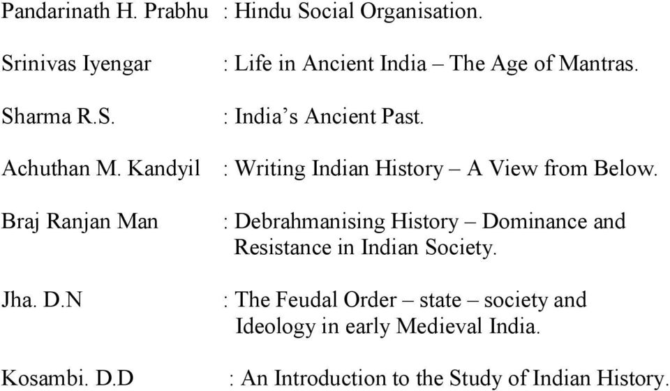 D.N Kosambi. D.D : Debrahmanising History Dominance and Resistance in Indian Society.