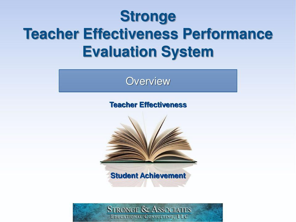 Overview Teacher Effectiveness