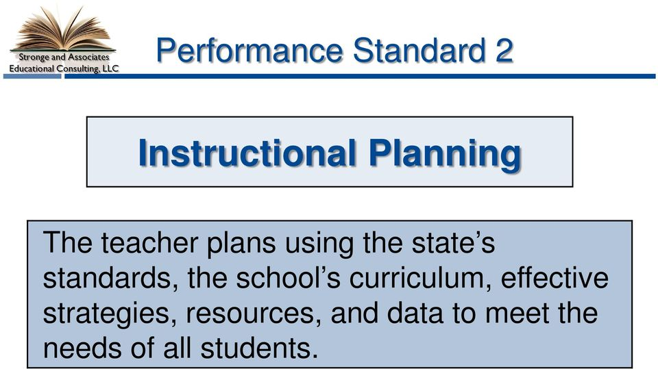 state s standards, the school s curriculum, effective
