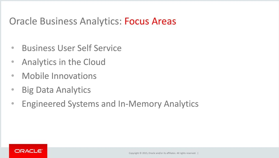 Analytics Engineered Systems and In-Memory Analytics