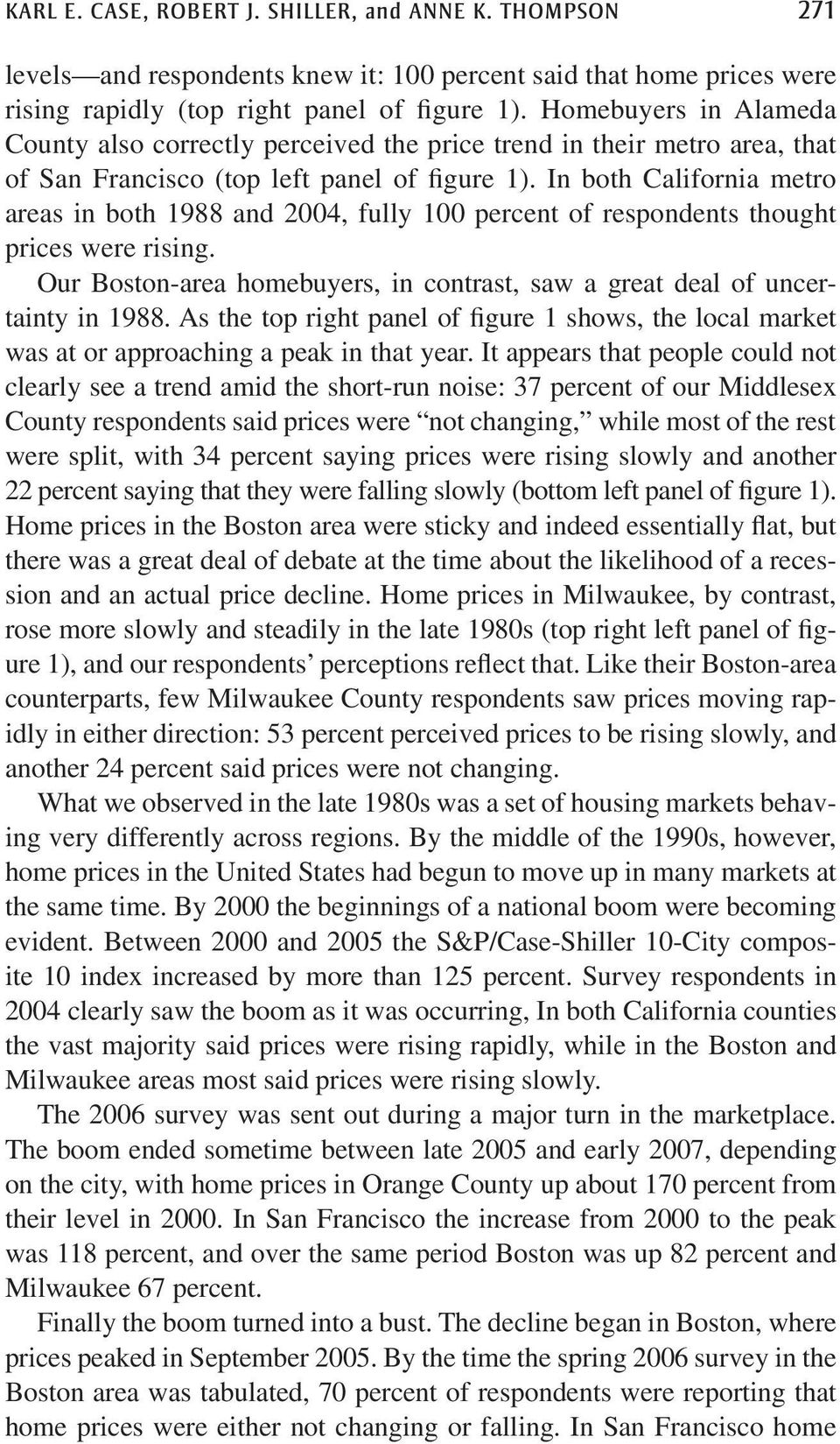 In both California metro areas in both 1988 and 2004, fully 100 percent of respondents thought prices were rising. Our Boston-area homebuyers, in contrast, saw a great deal of uncertainty in 1988.