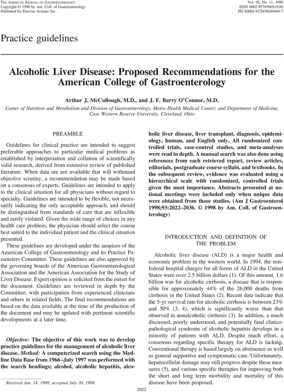sease: Proposed Recommendations for the American College of Gastroenterology Arthur J. McCullough, M.D.