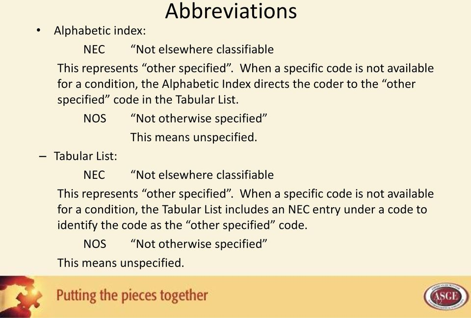 NOS Tabular List: NEC Not otherwise specified This means unspecified. Not elsewhere classifiable This represents other specified.