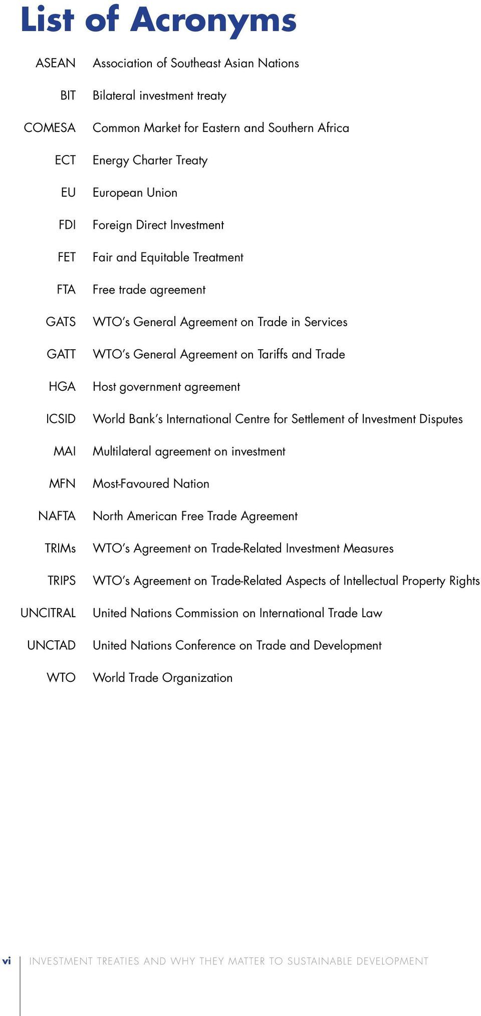 General Agreement on Tariffs and Trade Host government agreement World Bank s International Centre for Settlement of Investment Disputes Multilateral agreement on investment Most-Favoured Nation