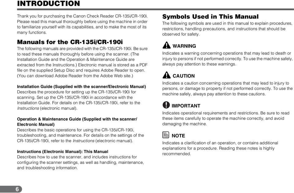 Manuals for the CR-135i/CR-190i The following manuals are provided with the CR-135i/CR-190i. Be sure to read these manuals thoroughly before using the scanner.