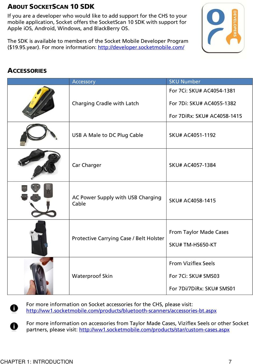 com/ ACCESSORIES Accessory Charging Cradle with Latch SKU Number For 7Ci: SKU# AC4054-1381 For 7Di: SKU# AC4055-1382 For 7DiRx: SKU# AC4058-1415 USB A Male to DC Plug Cable SKU# AC4051-1192 Car