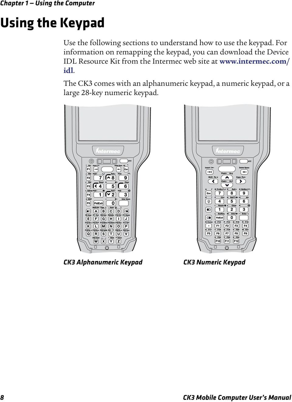 For information on remapping the keypad, you can download the Device IDL Resource Kit from the Intermec