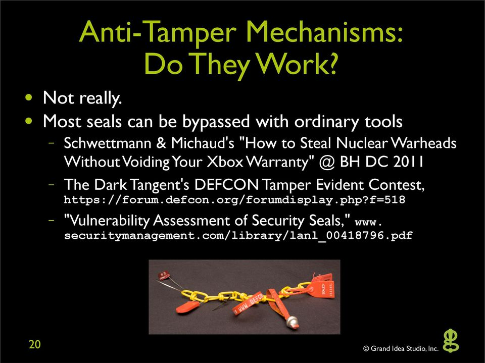 "Warheads Without Voiding Your Xbox Warranty"" @ BH DC 2011 The Dark Tangent's DEFCON Tamper Evident"