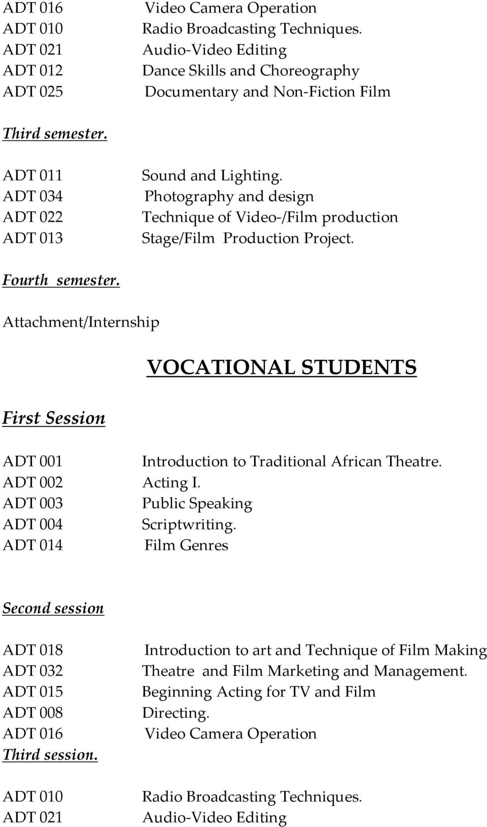 Attachment/Internship VOCATIONAL STUDENTS First Session ADT 001 Introduction to Traditional African Theatre. ADT 002 Acting I. ADT 003 Public Speaking ADT 004 Scriptwriting.
