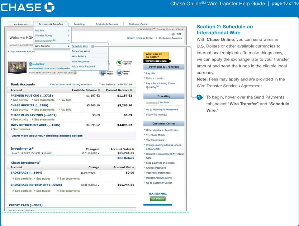 Chase online sm wire transfer help guide page of how