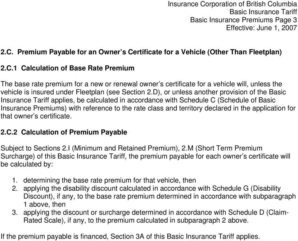rtificate for a Vehicle (Other Than Fleetplan) 2.C.