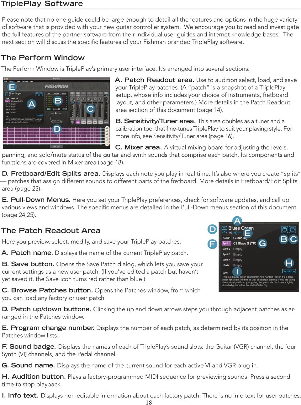 The next section will discuss the specific features of your Fishman branded TriplePlay software. The Perform Window The Perform Window is TriplePlay s primary user interface.