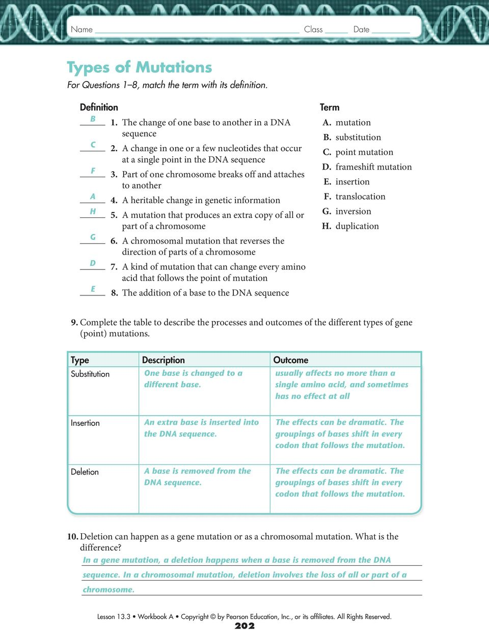 worksheet Chromosomal Mutations Worksheet rna and protein synthesis pdf mutation that produces an extra copy of all or part a chromosome 6 chromosomal
