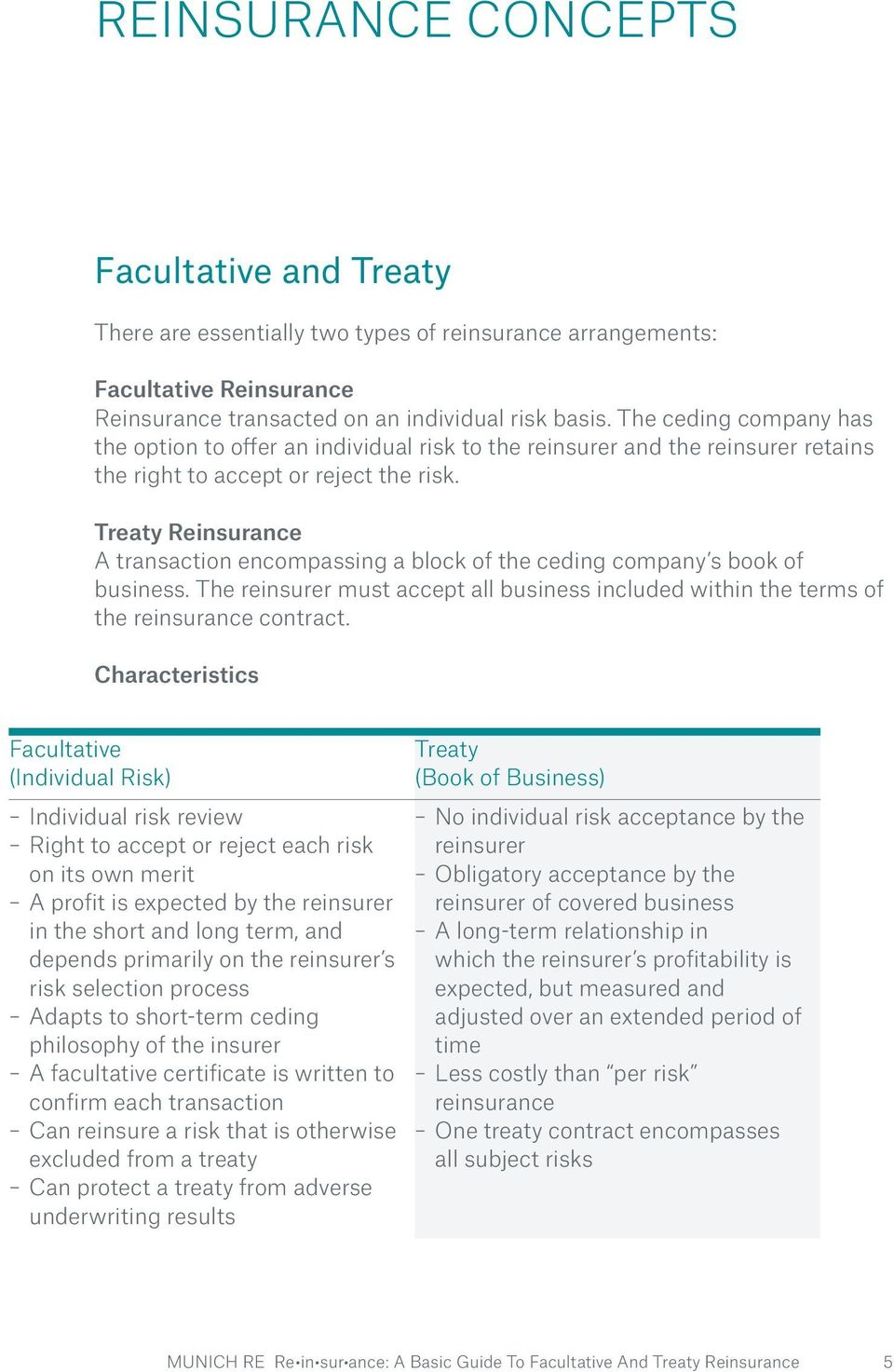 Treaty Reinsurance A transaction encompassing a block of the ceding company s book of business. The reinsurer must accept all business included within the terms of the reinsurance contract.