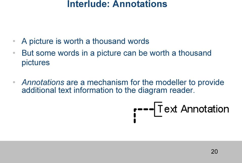 pictures Annotations are a mechanism for the modeller to