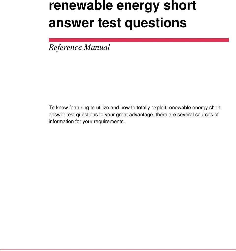 renewable energy short answer test questions pdf renewable energy short answer test questions to your great