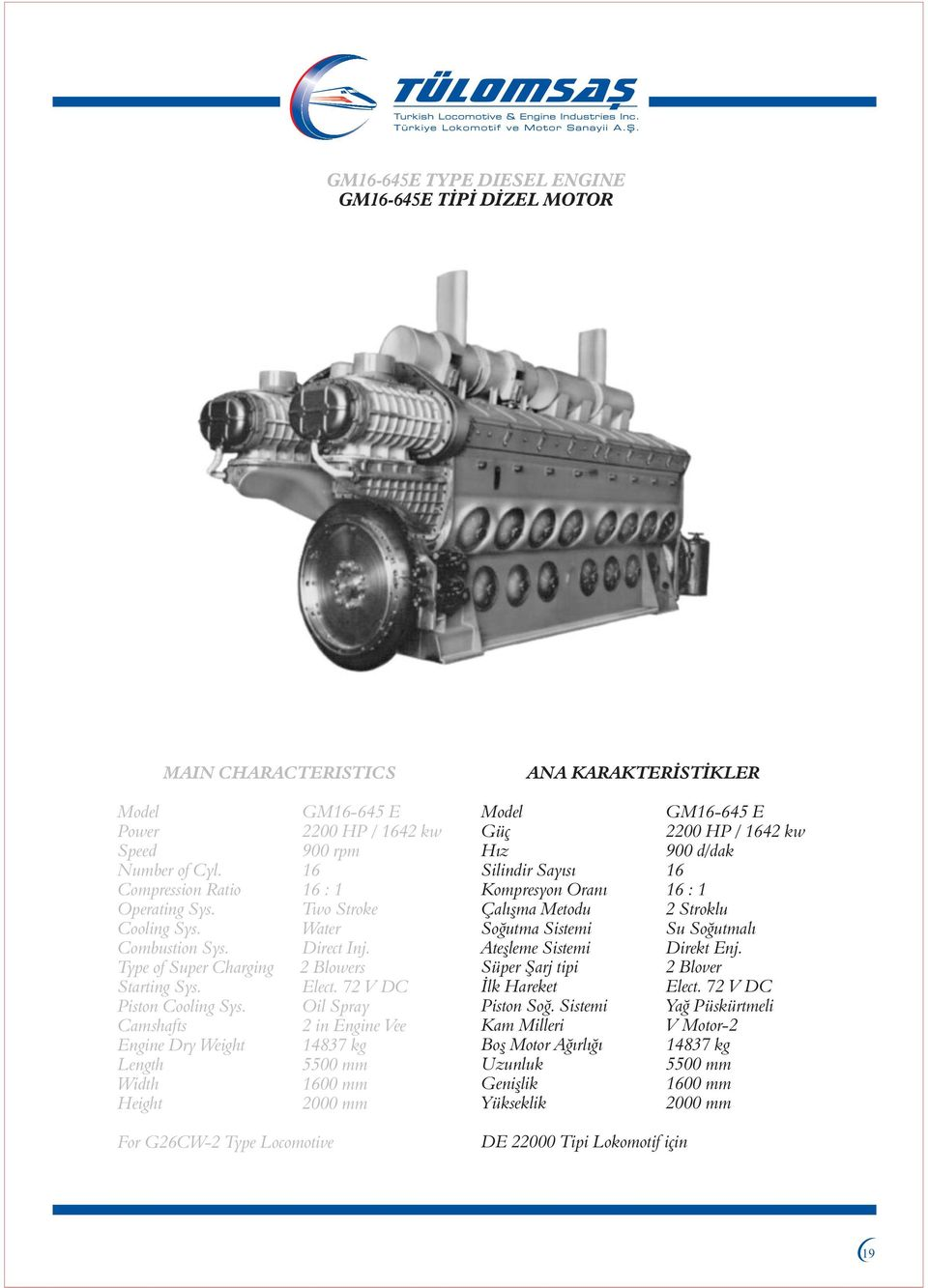 Oil Spray Camshafts 2 in Engine Vee Engine Dry Weight 14837 kg Length 5500 mm Width 1600 mm Height 2000 mm For G26CW-2 Type Locomotive Model GM16-645 E Güç 2200 HP / 1642 kw Hýz900 d/dak Silindir