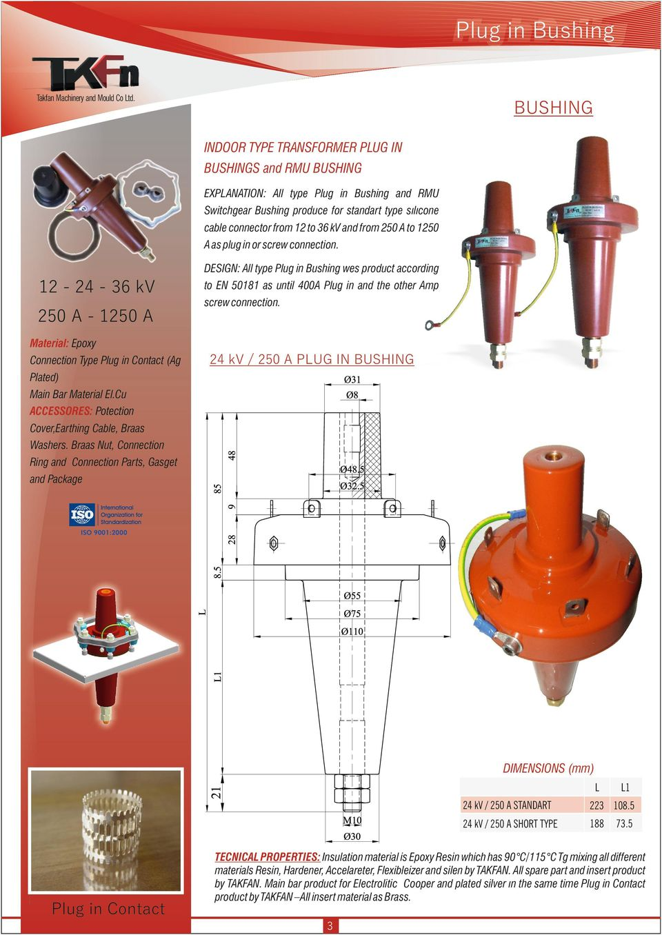 DESIGN: All type Plug in Bushing wes product according 12-24 - 36 kv 250 A - 1250 A to EN 50181 as until 400A Plug in and the other Amp screw connection.