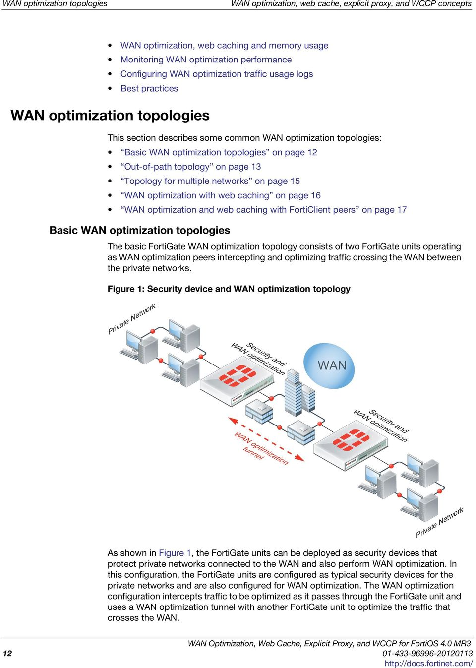 topology on page 13 Topology for multiple networks on page 15 WAN optimization with web caching on page 16 WAN optimization and web caching with FortiClient peers on page 17 Basic WAN optimization