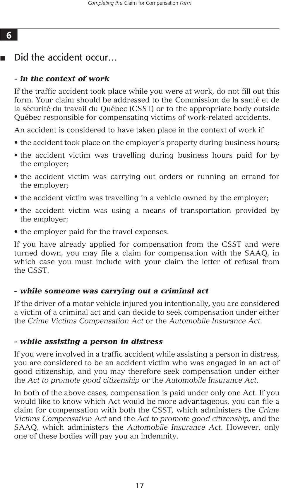 work-related accidents.