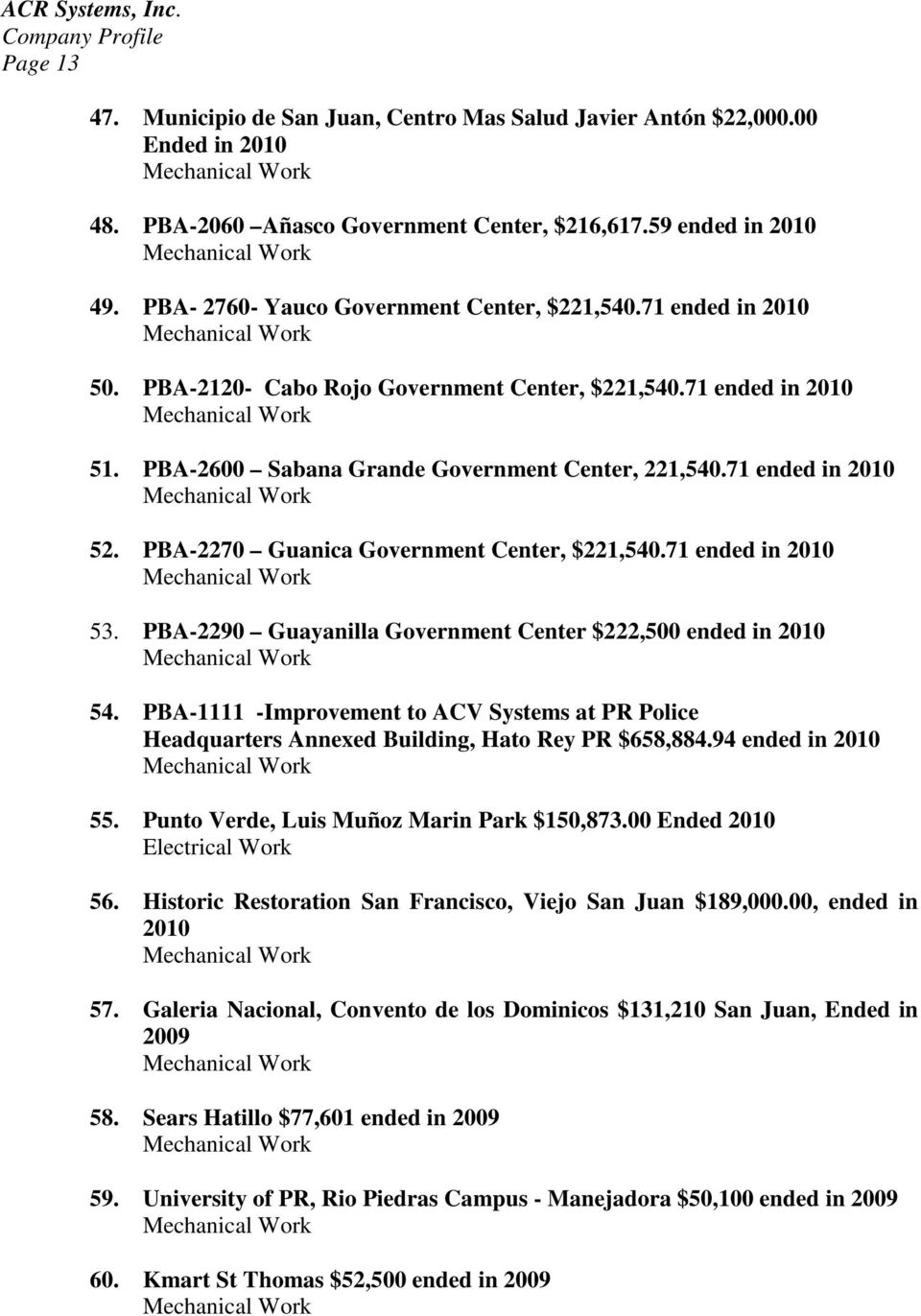71 ended in 2010 52. PBA-2270 Guanica Government Center, $221,540.71 ended in 2010 53. PBA-2290 Guayanilla Government Center $222,500 ended in 2010 54.