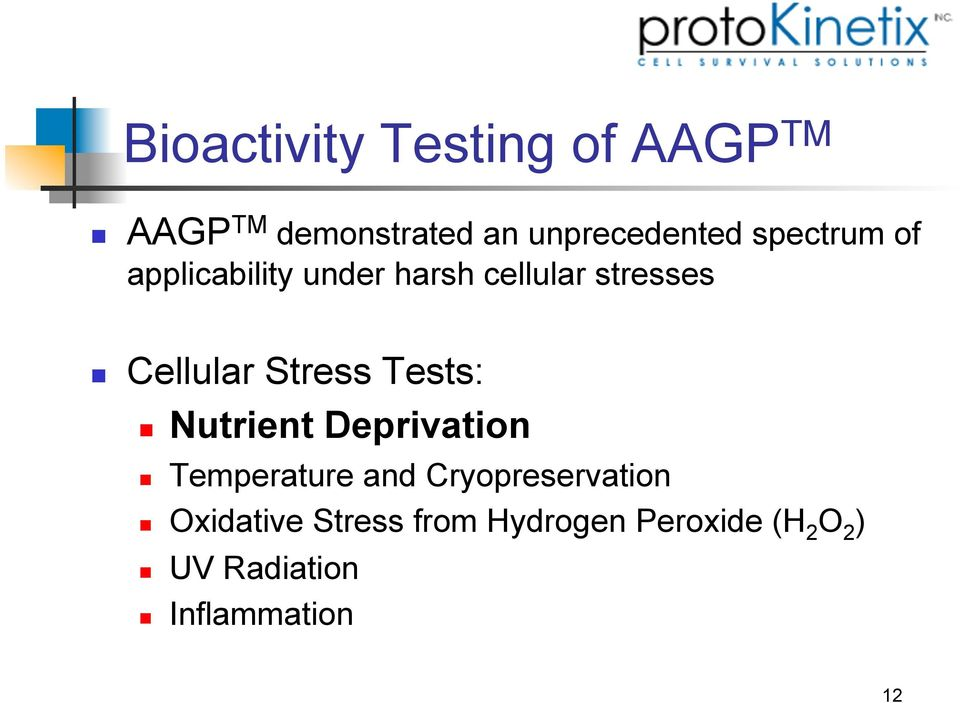 harsh cellular stresses! Cellular Stress Tests:! Nutrient Deprivation!