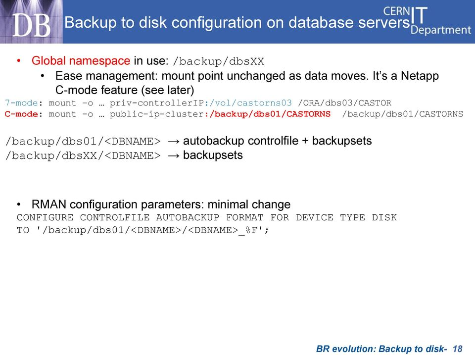 public-ip-cluster:/backup/dbs01/castorns /backup/dbs01/castorns /backup/dbs01/<dbname> autobackup controlfile + backupsets /backup/dbsxx/<dbname>