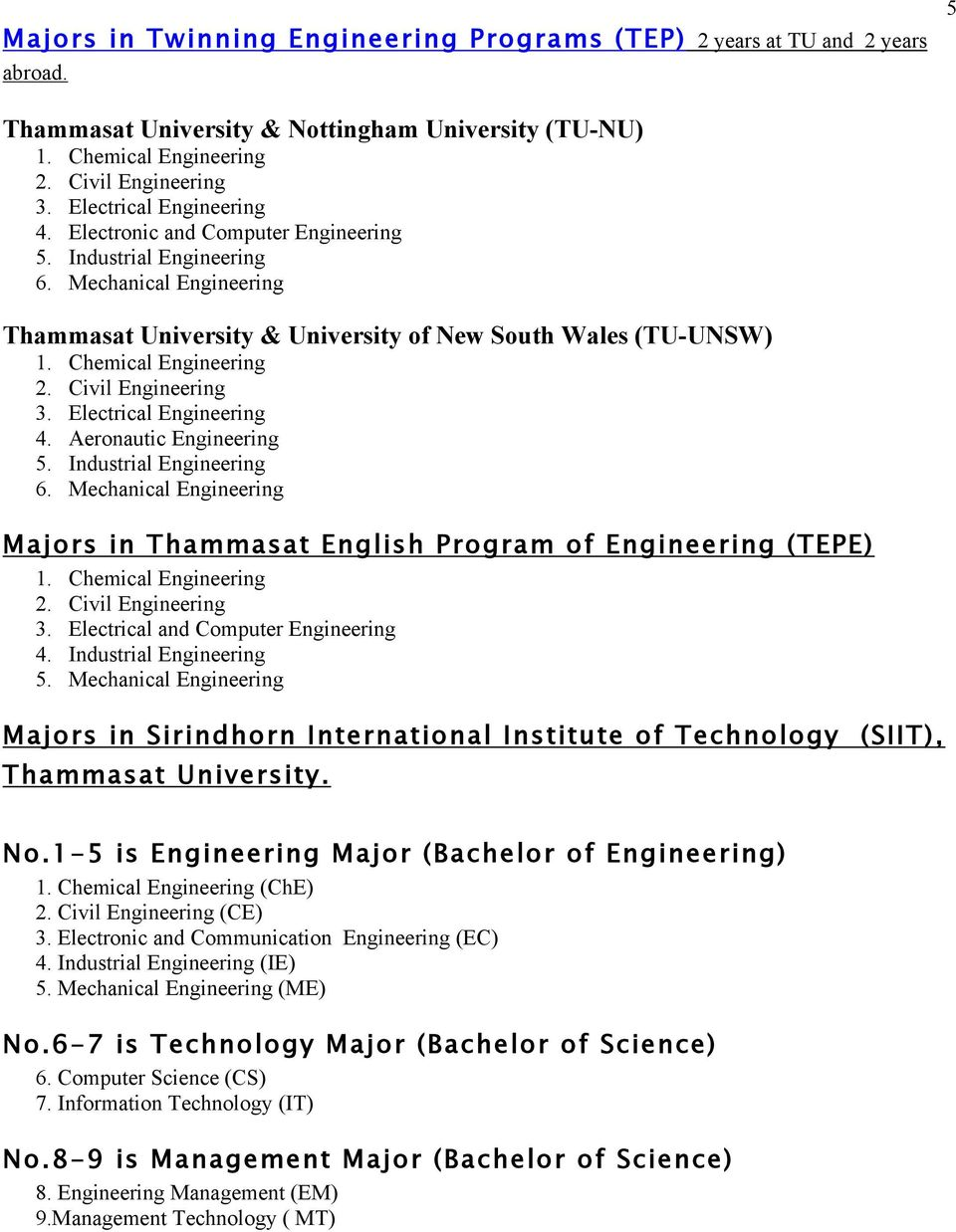 Chemical 2. Civil 3. Electrical and Computer 4. Industrial 5. Mechanical Majors in Sirindhorn International Institute of Technology (SIIT), Thammasat University. No.1-5 is Major (Bachelor of ) 1.
