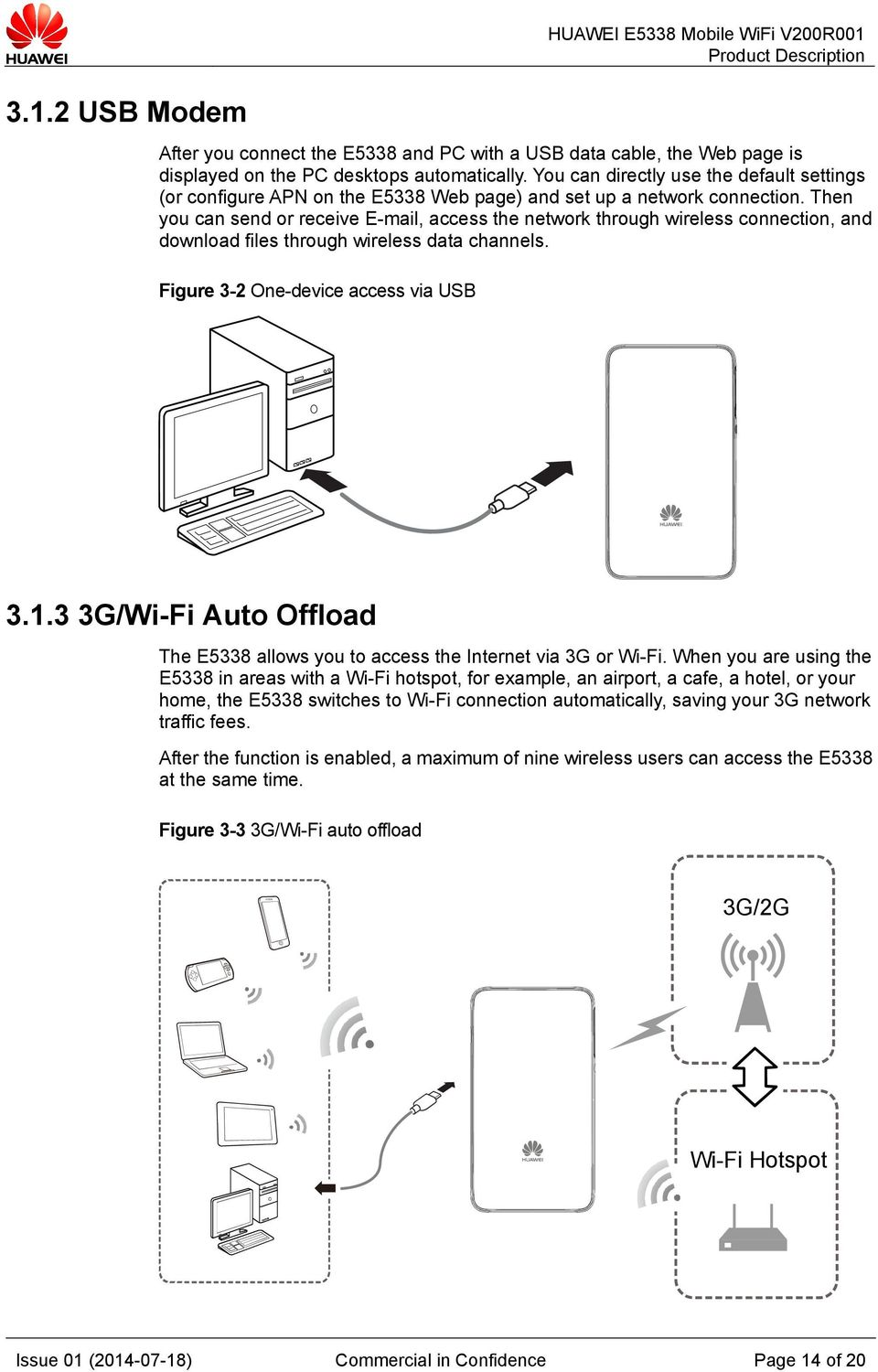 Then you can send or receive E-mail, access the network through wireless connection, and download files through wireless data channels. Figure 3-2 One-device access via USB 3.1.