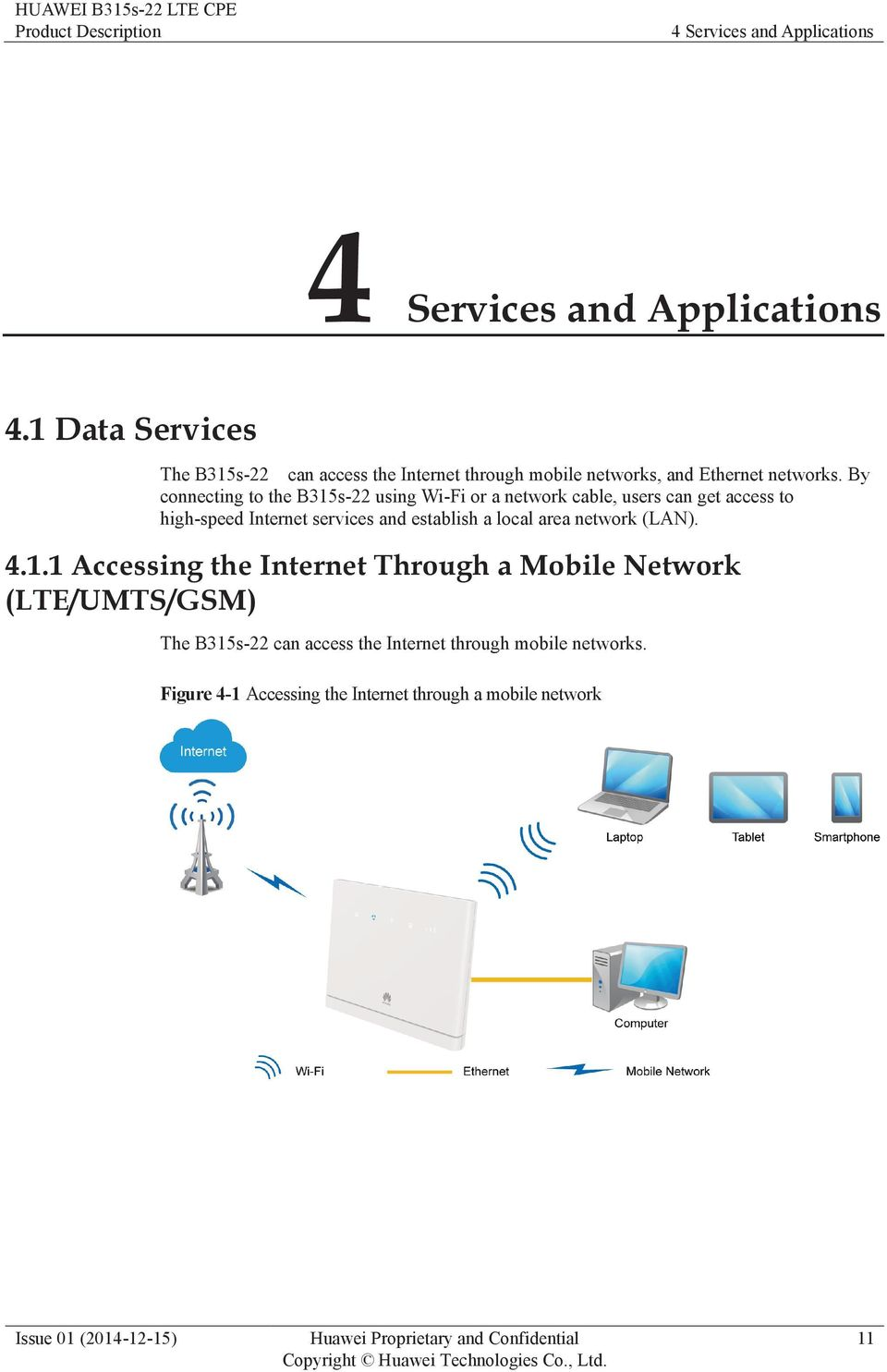 By connecting to the B315s-22 using Wi-Fi or a network cable, users can get access to high-speed Internet services and