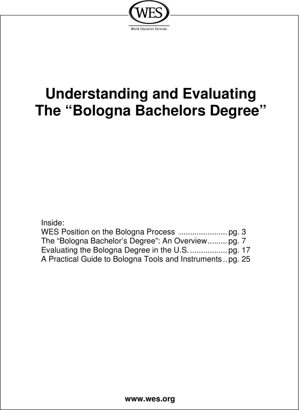 3 The Bologna Bachelor s Degree : An Overview... pg.