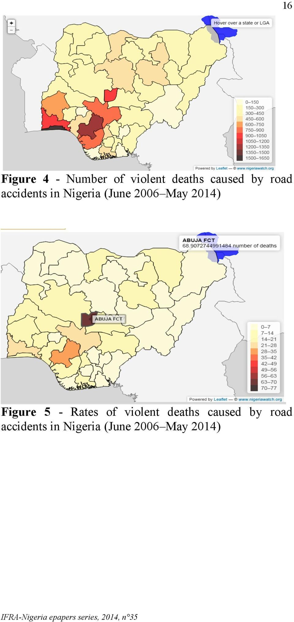 Rates of violent deaths caused by road accidents in