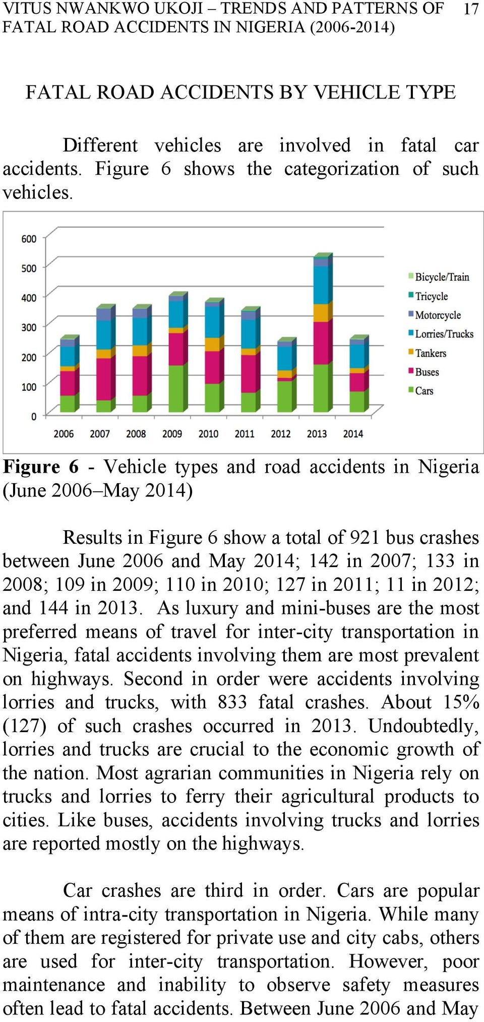 Figure 6 - Vehicle types and road accidents in Nigeria (June 2006 May 2014) Results in Figure 6 show a total of 921 bus crashes between June 2006 and May 2014; 142 in 2007; 133 in 2008; 109 in 2009;