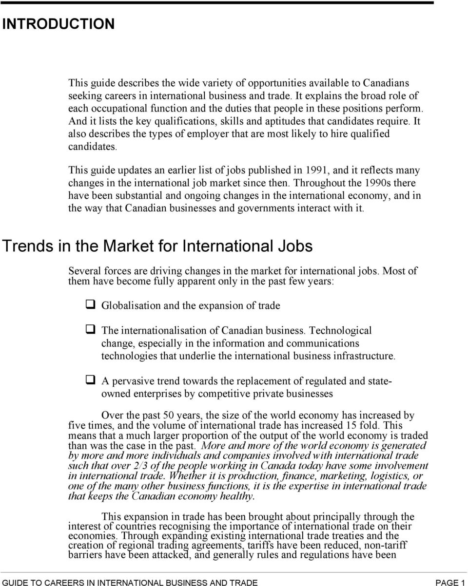 guide to careers in international business and trade pdf it also describes the types of employer that are most likely to hire qualified candidates