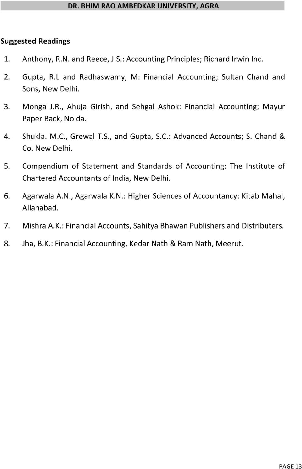 New Delhi. 5. Compendium of Statement and Standards of Accounting: The Institute of Chartered Accountants of India, New Delhi. 6. Agarwala A.N., Agarwala K.N.: Higher Sciences of Accountancy: Kitab Mahal, Allahabad.