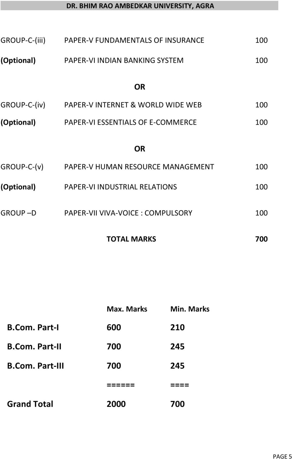 MANAGEMENT 100 (Optional) PAPER-VI INDUSTRIAL RELATIONS 100 OR GROUP D PAPER-VII VIVA-VOICE : COMPULSORY 100 TOTAL MARKS