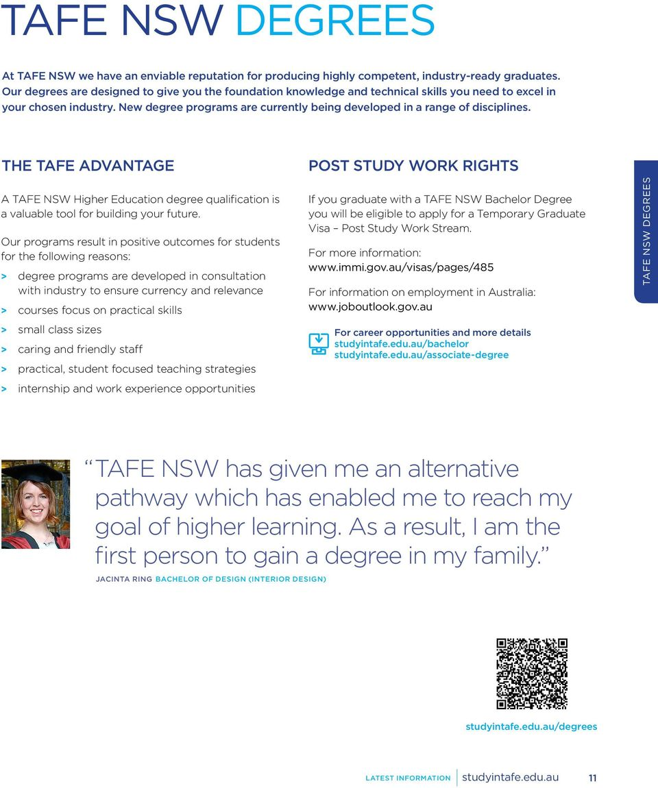 New degree programs are currently being developed in a range of disciplines. THE TAFE ADVANTAGE A Higher Education degree qualification is a valuable tool for building your future.