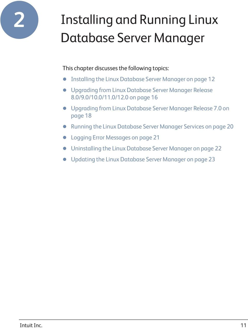 0 on page 16 Upgrading from Linux Database Server Manager Release 7.