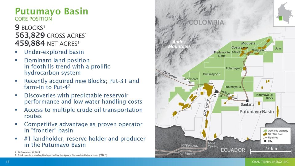 Access to multiple crude oil transportation routes Competitive advantage as proven operator in frontier basin #1 landholder, reserve holder and producer in the
