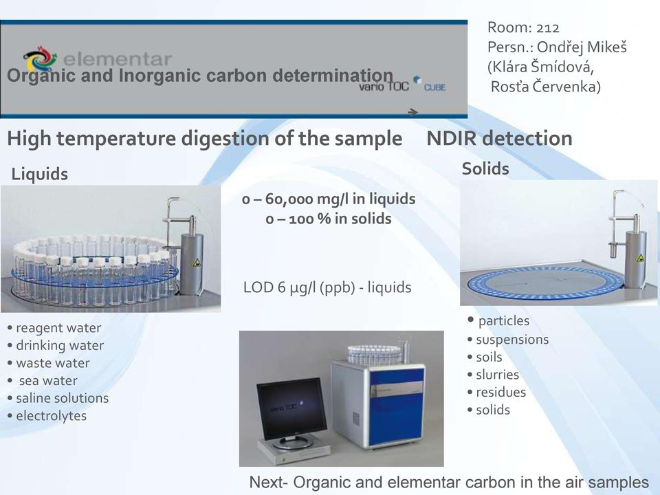 mg/l in liquids 0 100 % in solids NDIR detection Solids LOD 6 μg/l (ppb) - liquids reagent water drinking