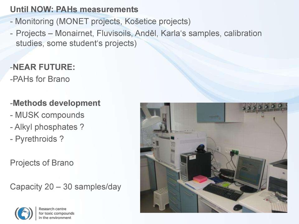 student s projects) -NEAR FUTURE: -PAHs for Brano -Methods development - MUSK