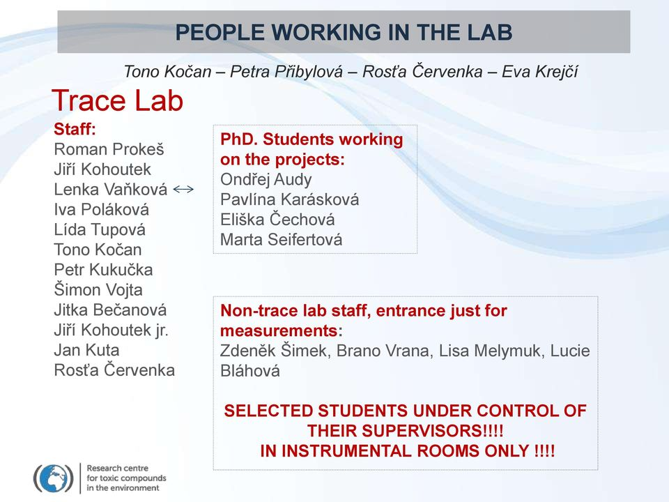 Students working on the projects: Ondřej Audy Pavlína Karásková Eliška Čechová Marta Seifertová Non-trace lab staff, entrance just for