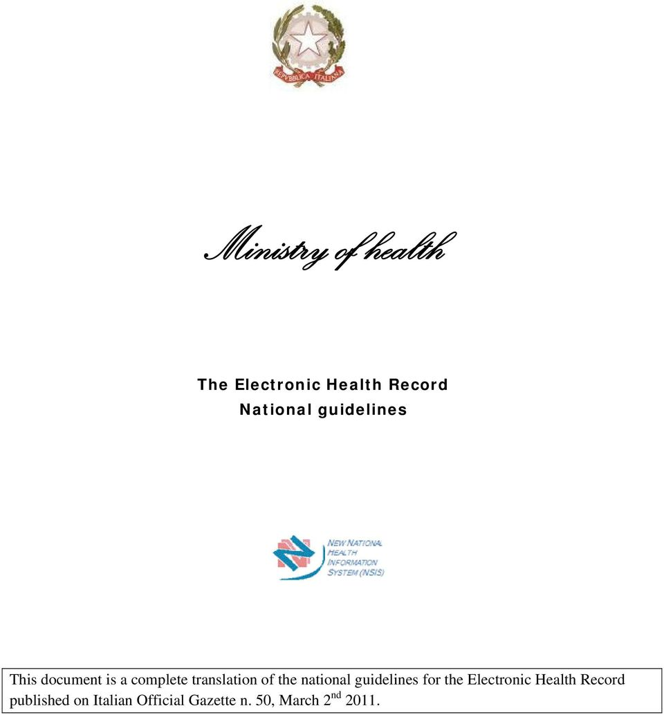 national guidelines for the Electronic Health Record